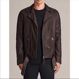 AllSaints Voltaire Brown Leather Biker Jacket Lg
